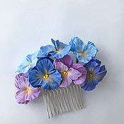 Свадебный салон handmade. Livemaster - original item Comb with blue and lilac viola flowers. polymer clay.. Handmade.