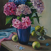 handmade. Livemaster - original item Painting with hydrangea and green apples, oil on canvas 30h40. Handmade.