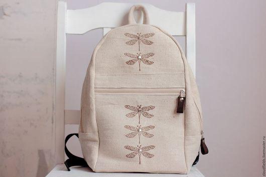 """Рюкзаки ручной работы. Ярмарка Мастеров - ручная работа. Купить Рюкзак из плотного льна """"Стрекозы"""". Handmade. Бежевый, рюкзак для девочки"""