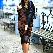 Одежда ручной работы. Ярмарка Мастеров - ручная работа Платье Комбинация из бархата с кружевом  шоколадный. Handmade.