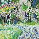 Картина В сиреневом саду Яркая картина маслом в подарок Купить картину маслом весенний пейзаж Картина весна пейзаж Городской пейзаж в подарок Картина маслом цветы
