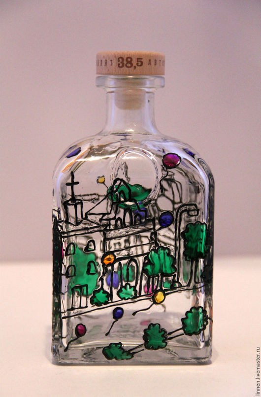 Подарочное оформление бутылок ручной работы. Ярмарка Мастеров - ручная работа. Купить Витражная роспись город. Handmade. Комбинированный, интерьер