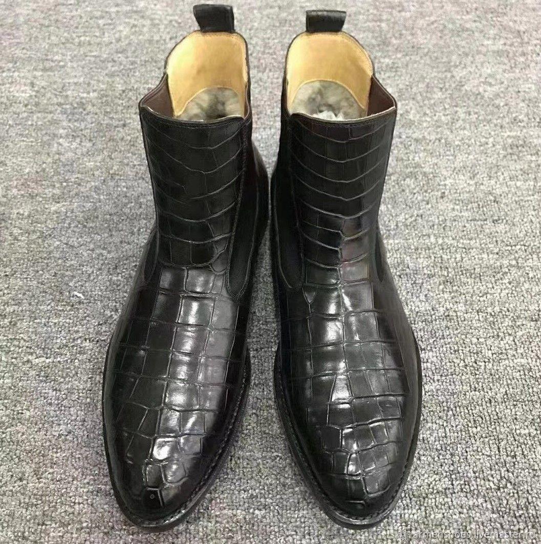 Chelsea genuine crocodile leather with fur, handmade!, Chelsea boots, Tosno,  Фото №1