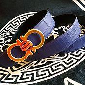 Аксессуары handmade. Livemaster - original item Genuine crocodile leather belt, in blue color.. Handmade.