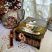 Для дома и интерьера ручной работы. Ярмарка Мастеров - ручная работа Шкатулка для чая УТРО НА ДАЧЕ.... Handmade.