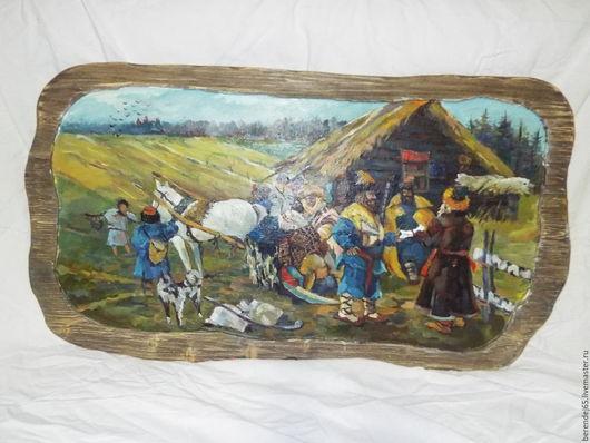 Люди, ручной работы. Ярмарка Мастеров - ручная работа. Купить Картина на дереве. Handmade. Комбинированный, картина для интерьера, картина маслом
