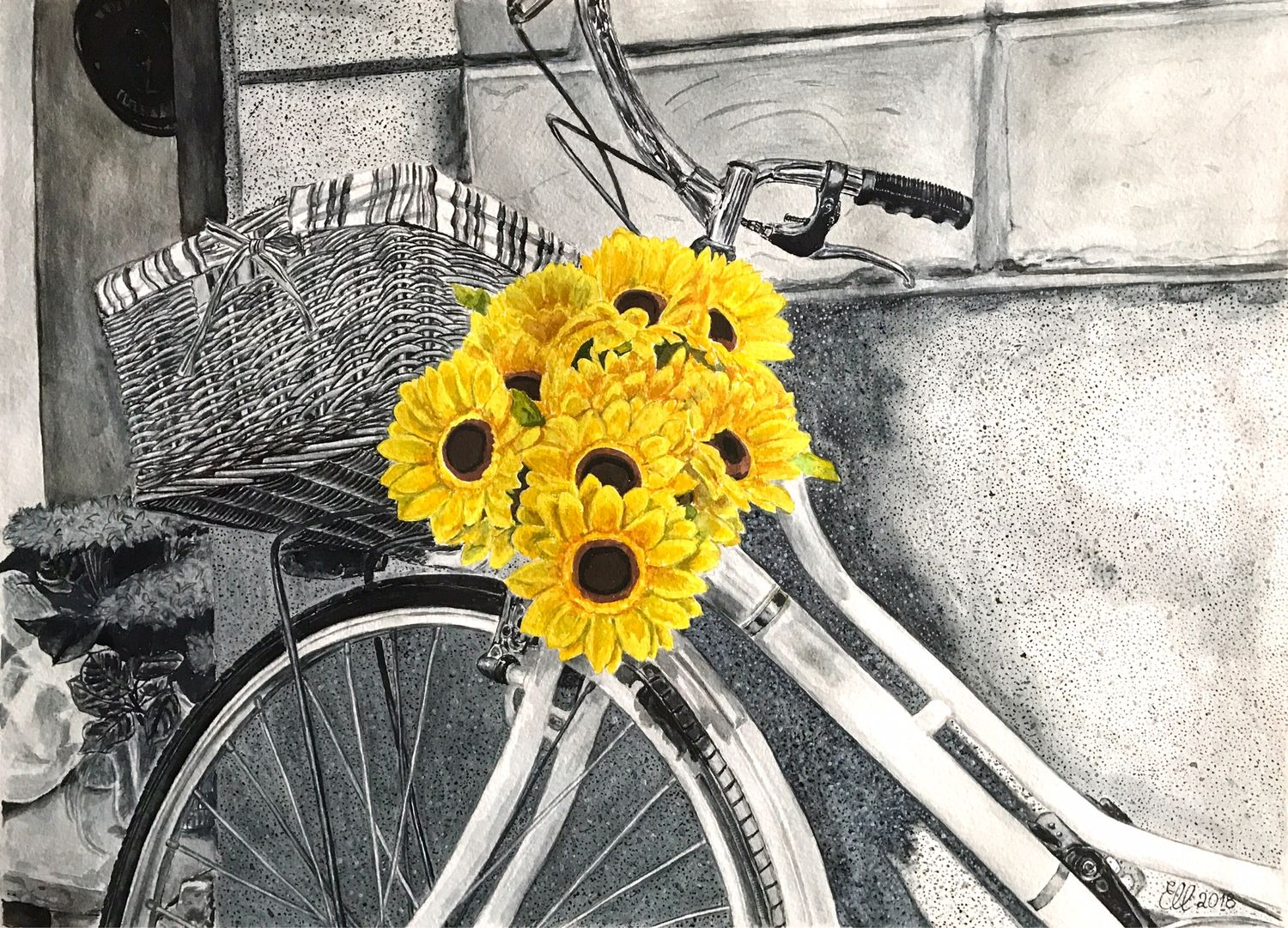 "Painting ""Yellow flowers and a bicycle"". Watercolor, Pictures, Murmansk,  Фото №1"
