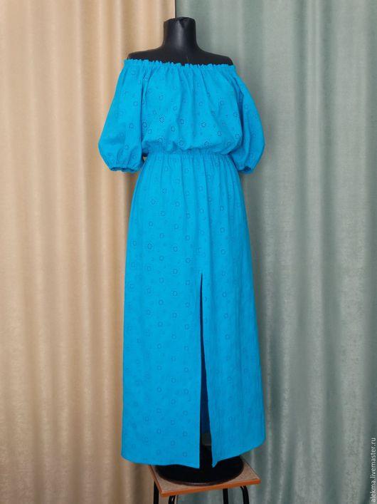 Платья ручной работы. Ярмарка Мастеров - ручная работа. Купить платье в деревенском стиле из хлопка Морская волна. Handmade.