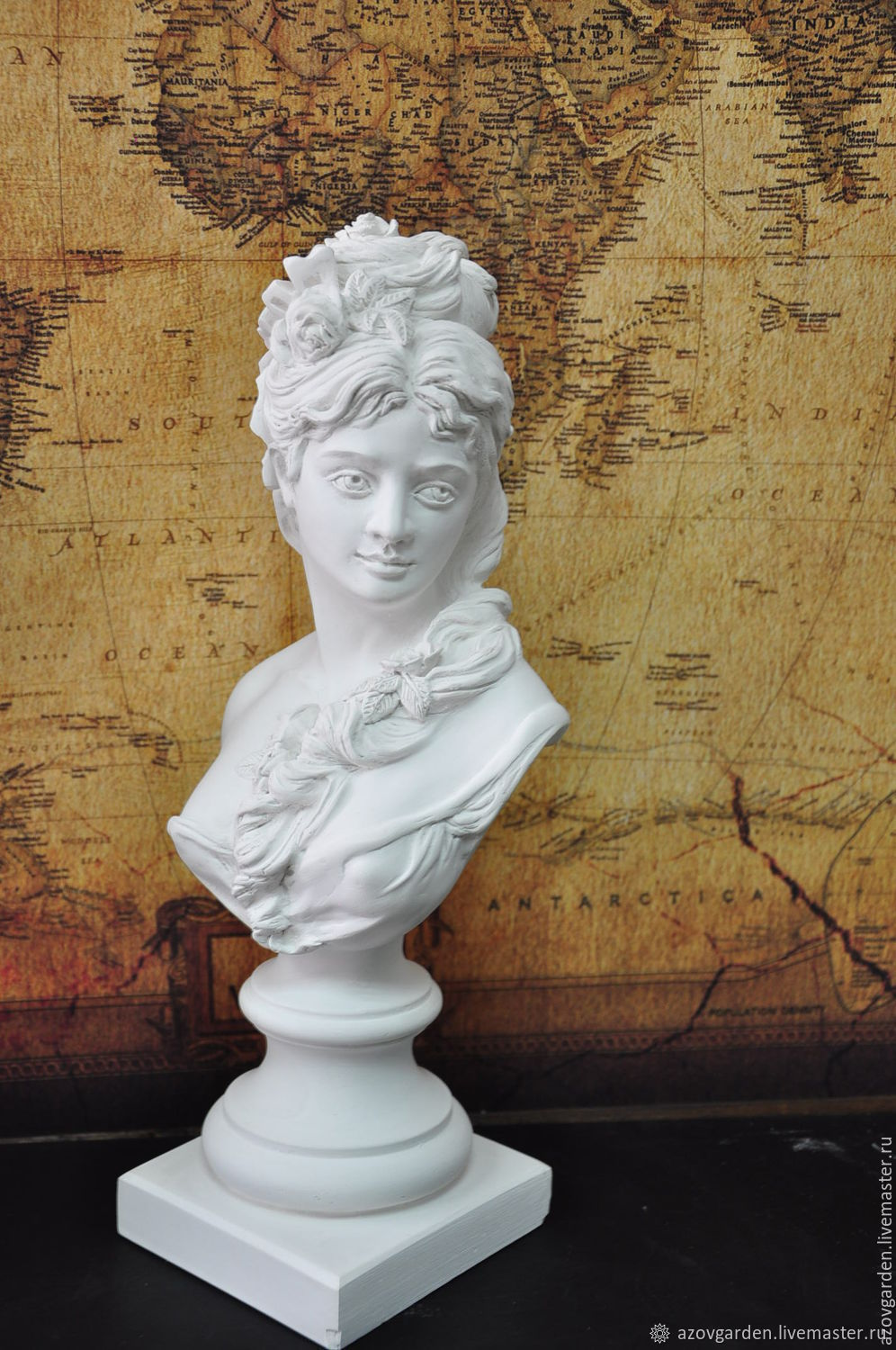 Bust girls plaster for decorative interior and garden Provence, Figurines, Azov,  Фото №1