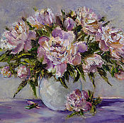 Картины и панно handmade. Livemaster - original item Oil painting on canvas Pink peonies, a bouquet of flowers in a vase. Handmade.