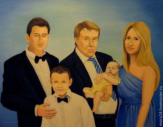 Люди, ручной работы. Ярмарка Мастеров - ручная работа. Купить Семейный портрет по фото. Handmade. Картина, люди, на холсте