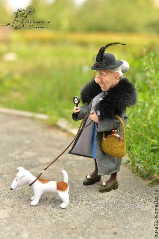 Коллекционные куклы ручной работы. Ярмарка Мастеров - ручная работа. Купить Мотильда и Ко. Handmade. Серый, собака валяная