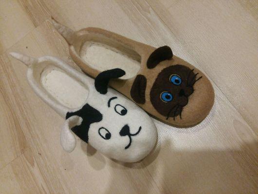 """Обувь ручной работы. Ярмарка Мастеров - ручная работа. Купить Валяные тапочки """"Котенок по имени Гаф"""". Handmade. Тапочки валяые"""