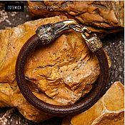 Украшения handmade. Livemaster - original item Bronze bracelet Raven, leather. Handmade.
