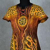 """Одежда ручной работы. Ярмарка Мастеров - ручная работа платье-туника валяное """"Знойная Африка - 2"""". Handmade."""