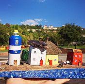 Для дома и интерьера handmade. Livemaster - original item Driftwood cottages Village with Lighthouse in Blue. Handmade.