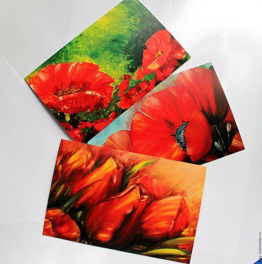 Открытки на все случаи жизни ручной работы. Ярмарка Мастеров - ручная работа. Купить Набор открыток  Огненные цветы. Handmade. Комбинированный