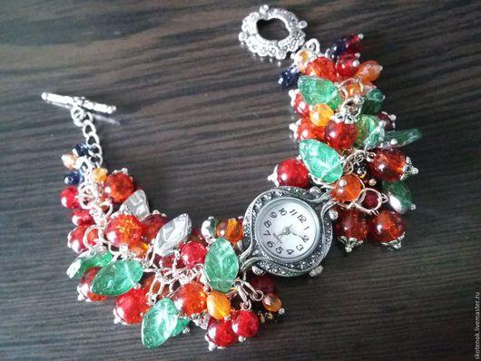 """Часы ручной работы. Ярмарка Мастеров - ручная работа. Купить АКЦИЯ! Часы-браслет """"Рябина"""". Handmade. Часы, часы с цветами"""