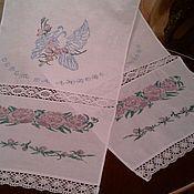 """Свадебный салон ручной работы. Ярмарка Мастеров - ручная работа Свадебный рушник """"Голуби в розах"""". Handmade."""