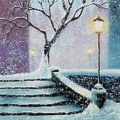 Картины и панно handmade. Livemaster - original item Painting winter landscape Snowfall oil painting. Handmade.