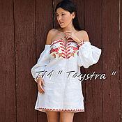 Одежда ручной работы. Ярмарка Мастеров - ручная работа Вышиванка платье белое лен, вышитая туника белая, бохо стиль , Bohemia. Handmade.