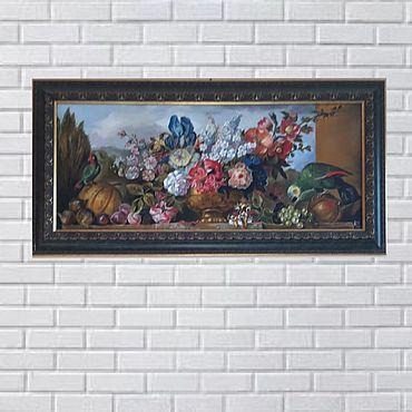 Дизайн и реклама ручной работы. Ярмарка Мастеров - ручная работа Картина маслом цветы и попугаи. Handmade.