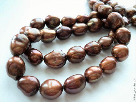 Для украшений ручной работы. Ярмарка Мастеров - ручная работа. Купить Жемчуг натуральный барочный, коричневый 13-15мм, нитка 13-14шт. Handmade.