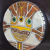 Музыкальные инструменты handmade. Livemaster - original item Okunevskaya mask. Drum leather. 30 cm brown. Handmade.