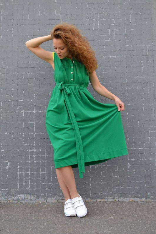 Платья ручной работы. Ярмарка Мастеров - ручная работа. Купить Платье миди из трикотажа ТРАВКА. Handmade. Зеленый, платье из трикотажа