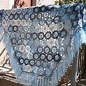 """Аксессуары ручной работы. Ярмарка Мастеров - ручная работа Шаль """"Голубые цветы"""". Handmade."""