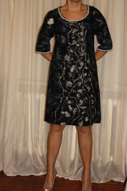 Платья ручной работы. Ярмарка Мастеров - ручная работа. Купить Валяное платье. Handmade. Серебряный, серое платье