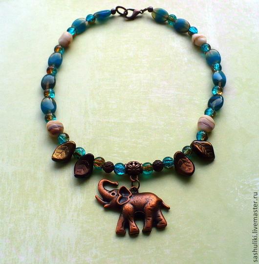 """Детская бижутерия ручной работы. Ярмарка Мастеров - ручная работа. Купить Бусы для девочки """"Индийский слон"""". Handmade. Разноцветный"""
