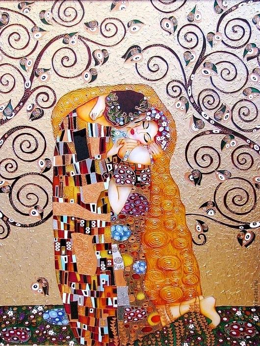 """Репродукции ручной работы. Ярмарка Мастеров - ручная работа. Купить """"Поцелуй на золотом"""" Витражная роспись стекла. Handmade. Золотой, лак"""
