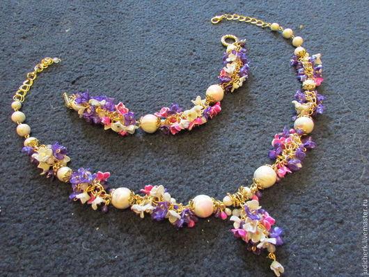 Колье и браслет из полимерной глины. Розово-сиренево-фиолетовый оттенок.  Цвет может быть любым - по заказу. Цвет цепочки-основы может быть любым - по заказу.