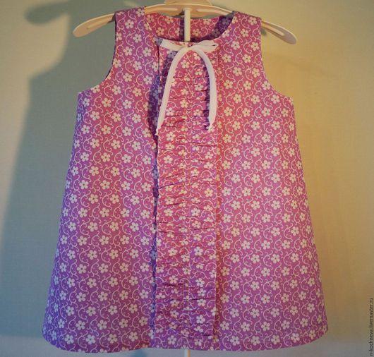 Одежда для девочек, ручной работы. Ярмарка Мастеров - ручная работа. Купить Детское платье летнее с рюшей. Handmade. Бледно-сиреневый