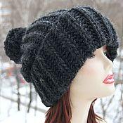 Аксессуары handmade. Livemaster - original item Black knitted Hat made of 100% Icelandic wool. Handmade.