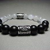 Украшения handmade. Livemaster - original item Bracelet with Fehu rune, dagaz and shungite and white quartz. Handmade.