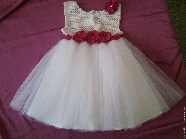 Платья вязаные с фатином для девочки