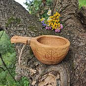 Посуда handmade. Livemaster - original item Carved Mug Kuksa with ornament made of birch. Travel bowl, bucket. Handmade.