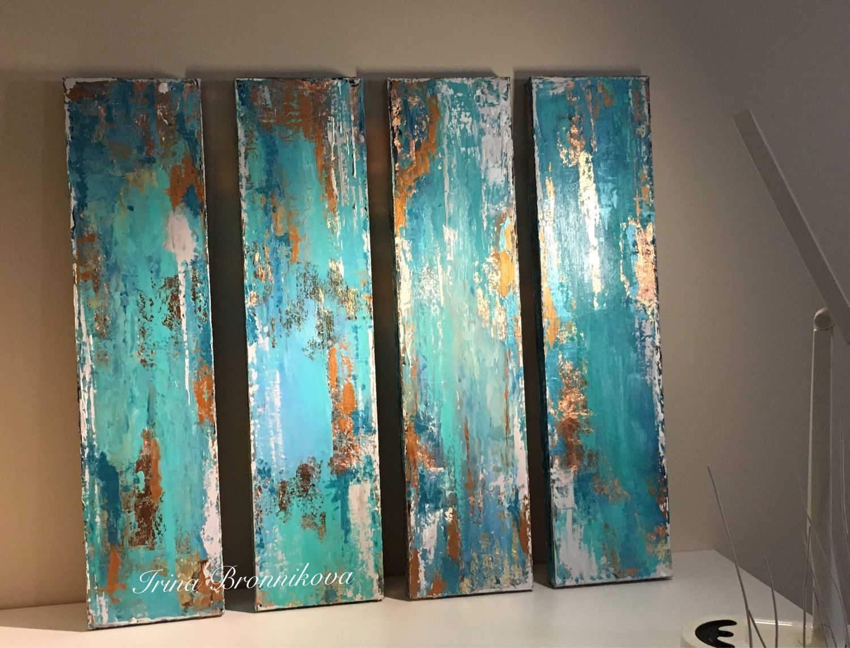 Абстракция ручной работы. Ярмарка Мастеров - ручная работа. Купить Набор абстракций. Handmade. Золото, лазурный, интерьерная картина