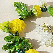 """Украшения ручной работы. Ярмарка Мастеров - ручная работа """"Из одуванчиков"""" колье и серьги лэмпворк стеклянные цветы. Handmade."""