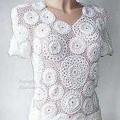 Одежда ручной работы. Ярмарка Мастеров - ручная работа Белая вязаная  блузка. Handmade.