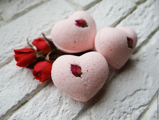 """Бомбы для ванны ручной работы. Ярмарка Мастеров - ручная работа. Купить Бомбочки  сердечные """"Романтика"""". Handmade. Бледно-розовый, спа"""