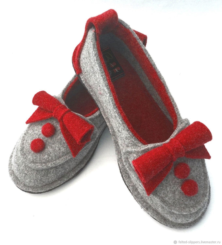 BERTA red felt ballet flats, 100% wool, Slippers, Prague,  Фото №1