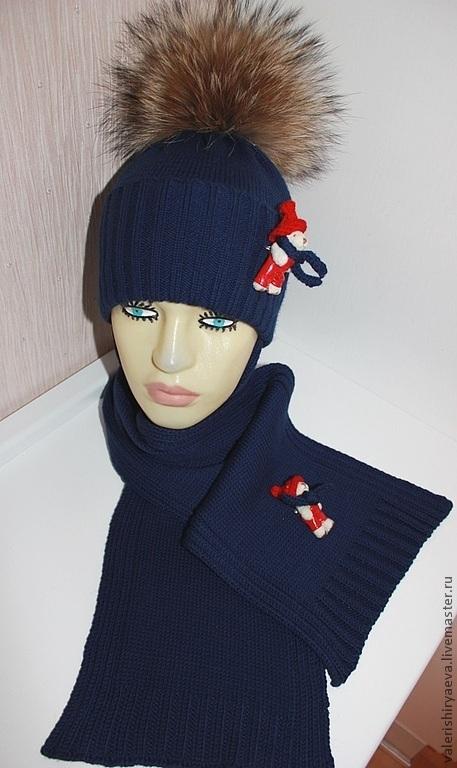 Шапки и шарфы ручной работы. Ярмарка Мастеров - ручная работа. Купить Вязаный комплект  Крещенские морозы. Handmade. Тёмно-синий