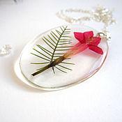 Украшения handmade. Livemaster - original item Transparent Pendant Red Wild Flower Botany Eco-Friendly Decoration. Handmade.