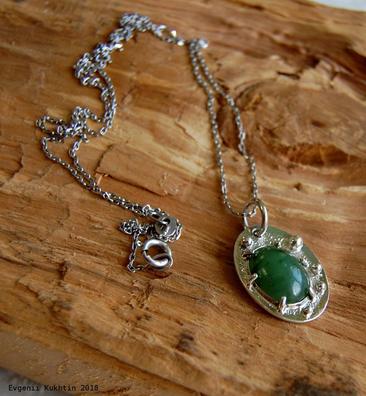 Miniature silver pendant with jade