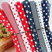 Материалы для творчества ручной работы. Ярмарка Мастеров - ручная работа Набор ткани 8 отрезов красно-синяя ткань. Handmade.