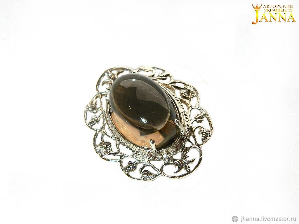 Topaz 'Misty dawn' brooch with rauchtopaz on silver, Brooches, Volgograd,  Фото №1