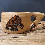 Посуда handmade. Livemaster - original item Mug Kuksa from beech wood with a pyrography Bear. Finnish mug kuksa 200ml. Handmade.